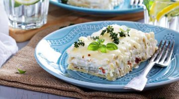 Cheesy and Nutty Minced Meat Lasagna with White Sauce